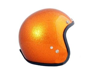 Helm 70`S HELMETS Größe: XS - XL, orange metalflake, GFK, Jethelm, Limited Edition, Made in Italy